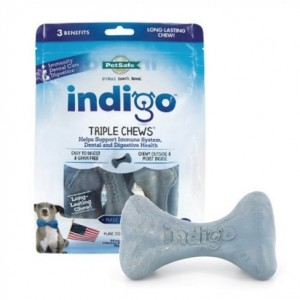 The indigo Triple Chew treats are a great long-lasting dental option for dogs!