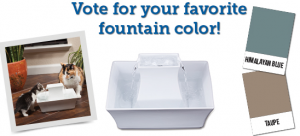 Users voted on two Drinkwell Pagoda Fountain colors: Taupe and Himalayan Blue.