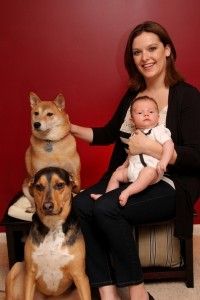 Sarah pictured here with son Dylan and pets Sheeba and Tyson.